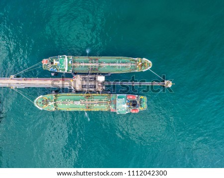 oil tanker, gas tanker in the high sea.Refinery Industry cargo ship,aerial view,Thailand, in import export, LPG,oil refinery, Logistics and transportation with working crane bridge in harbor #1112042300