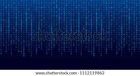 Creative vector illustration of stream of binary code. Computer matrix background art design. Digits on screen. Abstract concept graphic data, technology, decryption, algorithm, encryption element