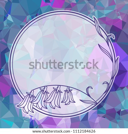 Round floral frame on a square mosaic background. Copy space. Raster clip art.