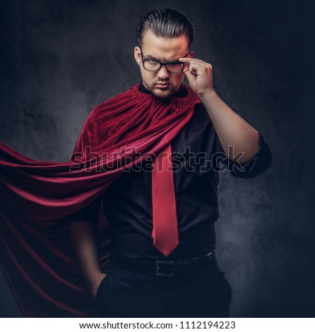 Portrait of a genius villain superhero in a black shirt with a red tie. #1112194223