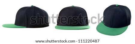 Picture of three view of blank cap on white background