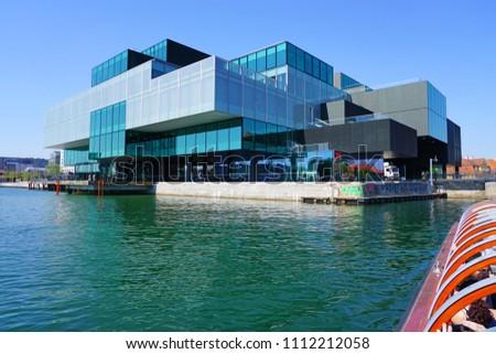 COPENHAGEN, DENMARK -15 MAY 2018- Water view of the Danish Architecture Center (Dansk Arkitektur Center or DAC) in Copenhagen, Denmark. #1112212058