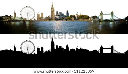 London skyline, with all important buildings and attractions of the city - photographic composition with corresponding alpha silhouette mask