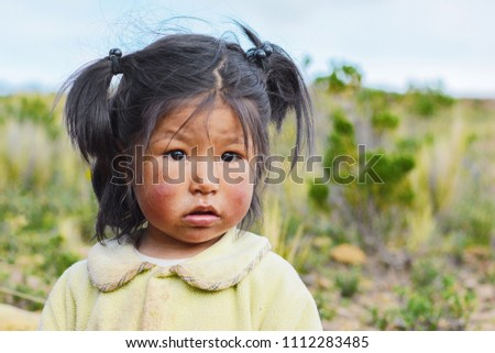 Little dirty native american girl in the countryside.  #1112283485