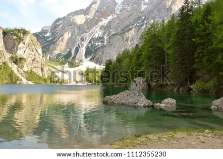 The wonderful Braies lake in the Dolomites in spring #1112355230