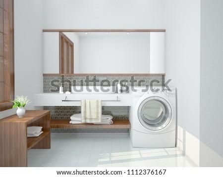 minimalist bathroom with a washing machine. 3d illustration #1112376167