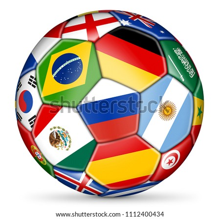 soccer ball with colorful national flags isolated on white background illustration #1112400434