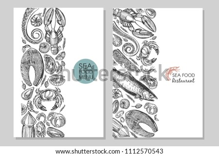 Business card with sea food. Vector set with banner and poster. Hand drawn illustration. #1112570543