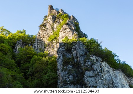The ruins of the watchtower on a rock covered with greenery #1112584433