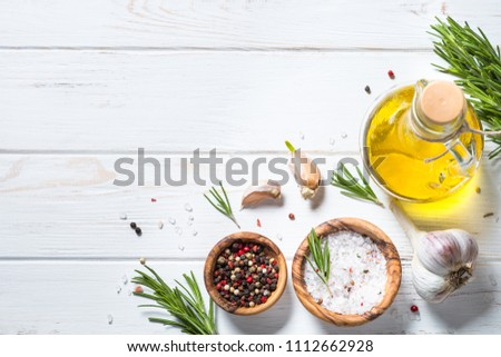 Food background on white wooden table. #1112662928