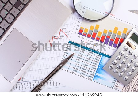 Image of a businessman workplace with papers #111269945