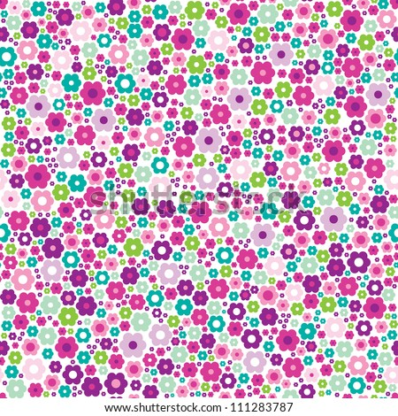 Seamless flower pink purple retro background pattern in vector