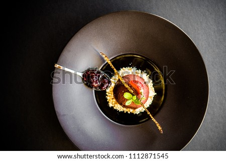 dessert, black, plate, elegant, chocolate, ball, nuts, strawberry, food, fine, gourmet #1112871545