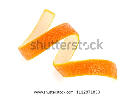 Single orange peel on a white background. Vitamin C, beauty health skin concept. #1112871833