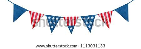 String of American flag decorative bunting. Hand drawn watercolour graphic paint on white background, isolated clip art element for patriotic decor and design. Navy dark blue and bright red color.