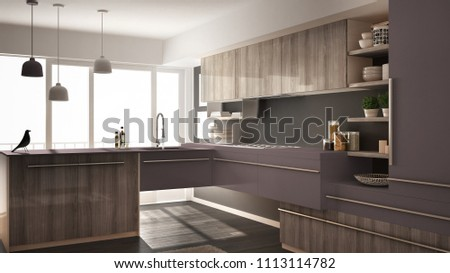 Modern minimalistic wooden kitchen with parquet floor, carpet and panoramic window, gray and violet architecture interior design, 3d illustration #1113114782