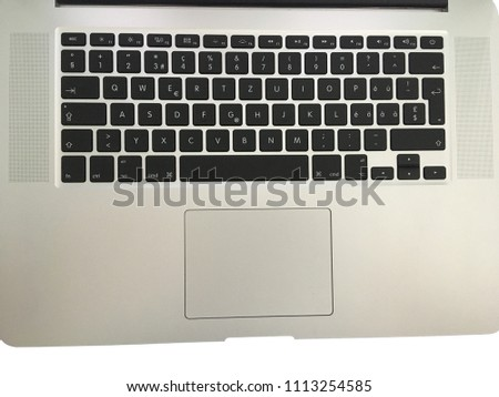 clean keyboard computer new laptop swiss german alphabet apple technology black qwertz keyboard at office, on white background isolated #1113254585