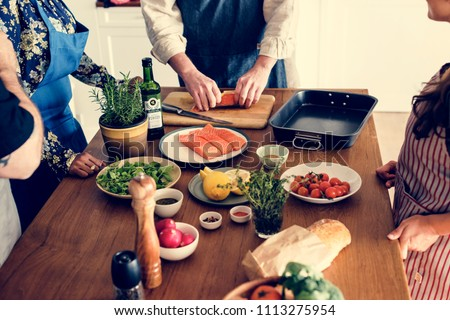Diverse people joining cooking class #1113275954