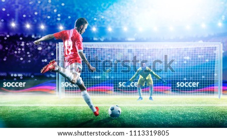 Soccer player ready to execute penalty kick on the grand arena Royalty-Free Stock Photo #1113319805