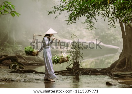 The Vietnamese girl in the traditional dress is carrying a basket with herbs and lotuses crossing a stream in a community in Vietnam. #1113339971