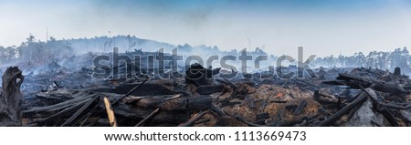 Bushfire smouldering in Australian Outback Panoramic Royalty-Free Stock Photo #1113669473