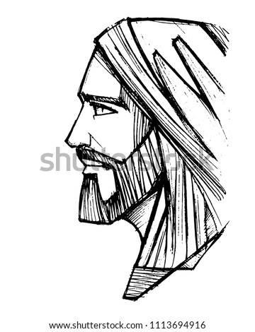 Hand drawn vector pencil illustration or drawing of Jesus Christ Face