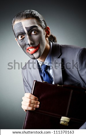 Businessman with clown face paint #111370163
