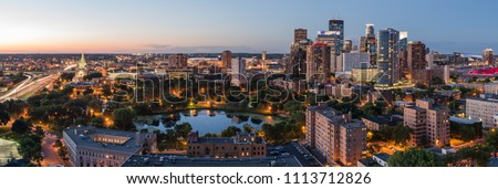 Beautiful panoramic view of Minneapolis during a summer sunset.