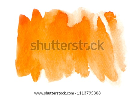 Close up of Orange artwork isolated on white background. Abstract watercolor painting art. Hand drawing in color yellow on hot toned. Watercolor texture for card or creative banner design. Red #1113795308