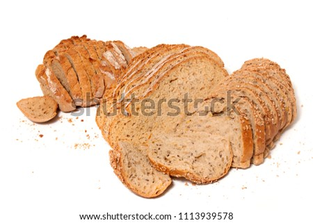 Traditional slices of grain seed bread on white background #1113939578