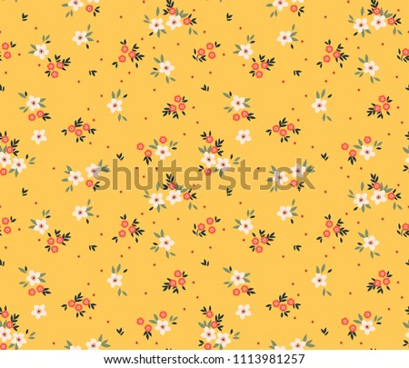 Cute floral pattern in the small flower. Ditsy print. Motifs scattered random. Seamless vector texture. Elegant template for fashion prints. Printing with small white flowers. Yellow background. #1113981257