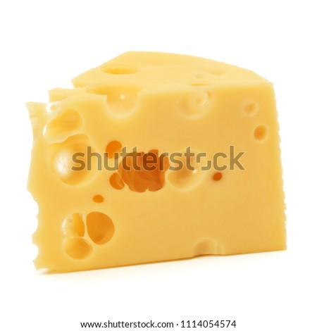 Cheese block isolated on white background cutout #1114054574