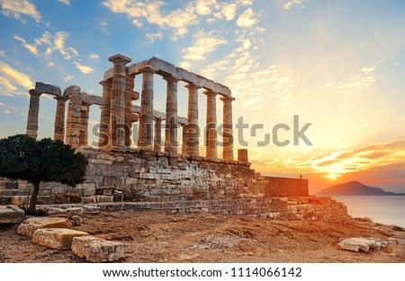Sunset at Temple of Poseidon near Athens, Greece. #1114066142