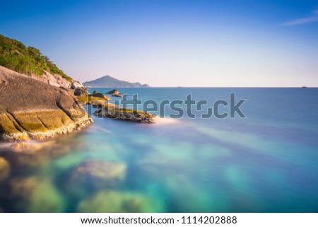 Long Expsoure Seascape of Koh Tao, Thailand with the shallow waters #1114202888