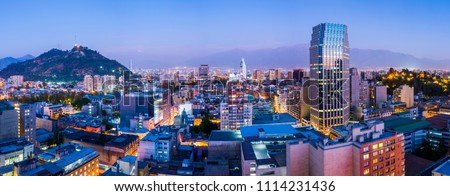 Santiago de Chile dwontown after sunset in a wide panoramic composition, Chile #1114231436