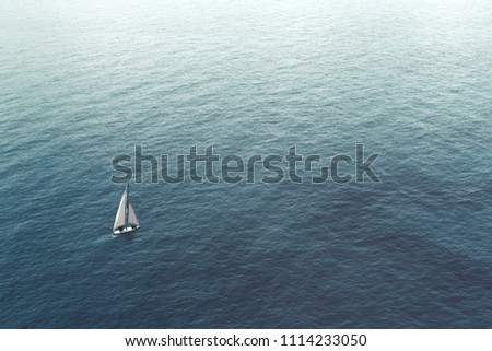 sailboat challenge the sea, aerial view #1114233050