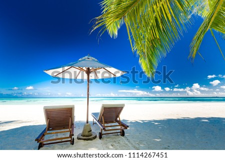 Best beautiful travel and vacation destination background. Sunny beach and loungers under sun umbrella with palm trees and white sand. Luxury beach holiday concept #1114267451