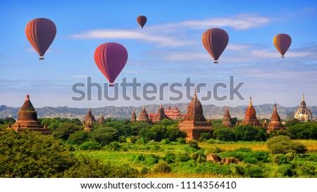 Hot air balloon over pagodas at Bagan, Myanmar