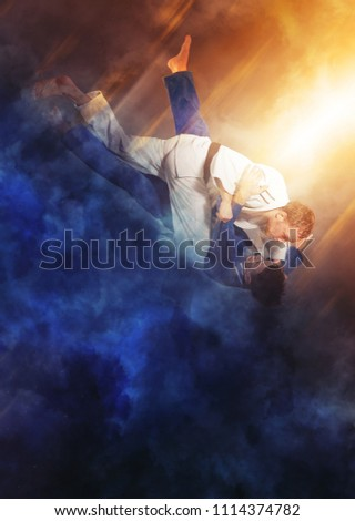 Battle of two fighters judo sports judo competitions #1114374782