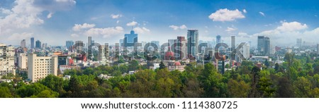 Panoramic view of Mexico city. Cityscape of Mexico city at sunny day #1114380725