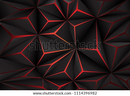 Abstract black polygon red light futuirstic technology design background vector illustration.