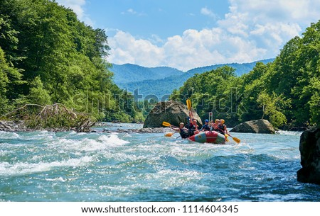 rafting on a mountain river #1114604345