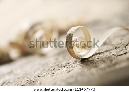 wood shavings with shallow depth of field