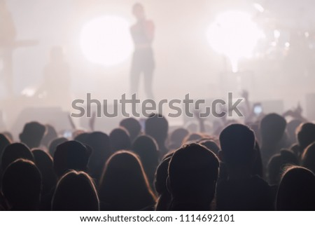 Female singer silhouette beside the crowd of people at music concert. Rock band silhouette in a stage backlights #1114692101