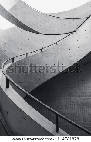Staircase curve Architecture details Cement stair curve design Royalty-Free Stock Photo #1114761878