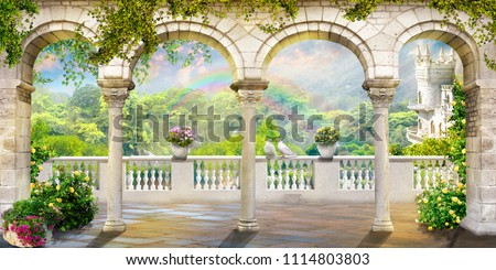 Digital fresco. Columns, view from the terrace Royalty-Free Stock Photo #1114803803