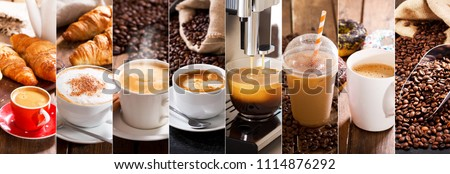 coffee collage of various cups and coffee beans #1114876292