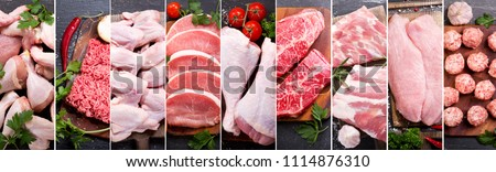 food collage of various fresh meat and chicken, top view Royalty-Free Stock Photo #1114876310