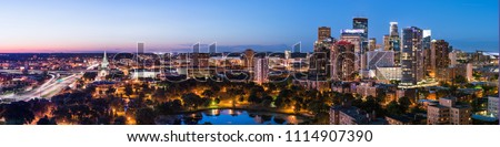 Panoramic view of Minneapolis during a beautiful sunset on a summer evening.