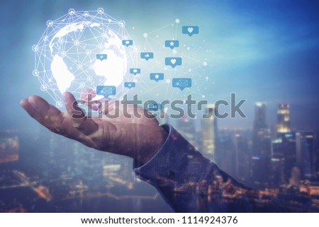 Human hand holding our planet earth glowing connection concept.Social media concept. #1114924376